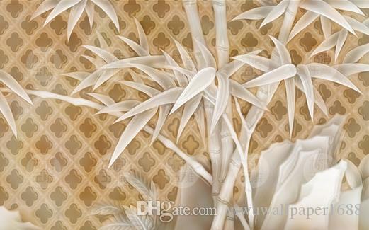 современная гостиная обои HD нефрит резьба бамбук камень фреска стены
