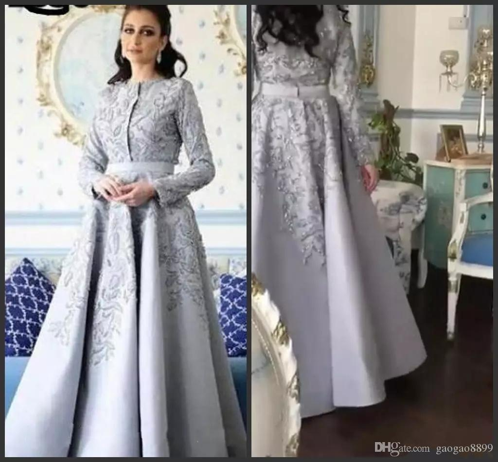 2019 Silver grey long sleeves evening dresses major beading arabic jewel neck floor length long celebrity formal prom party gowns wear