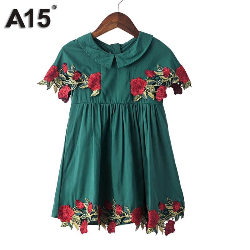 A15 Girls Dress Summer 2017 Brand White Lace Dress Flower Kids Dress for Girls Children Teenage Clothes Age 2 3 4 5 6 14 16 Year