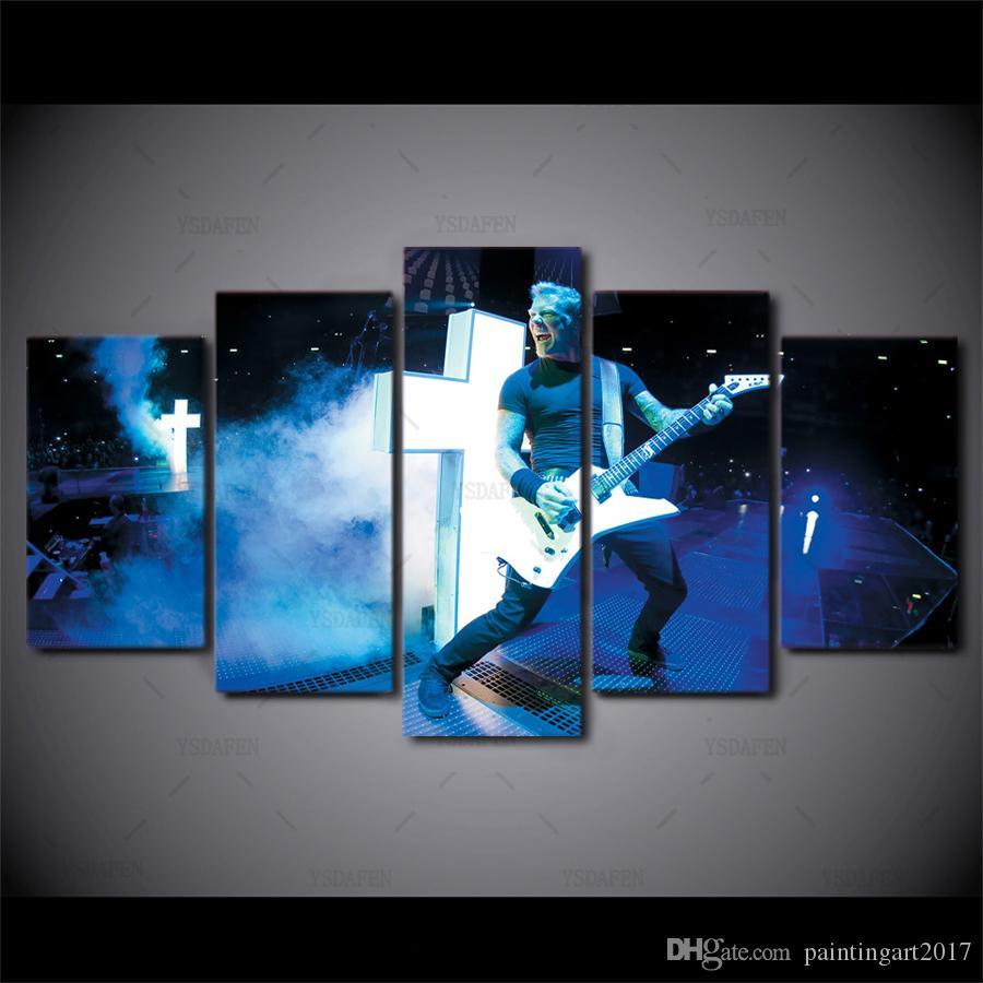 Decorazione della parete di arte moderna Decorativa 5 pannello Metallica Band Guitar Pictures HD stampa pittura su tela per soggiorno