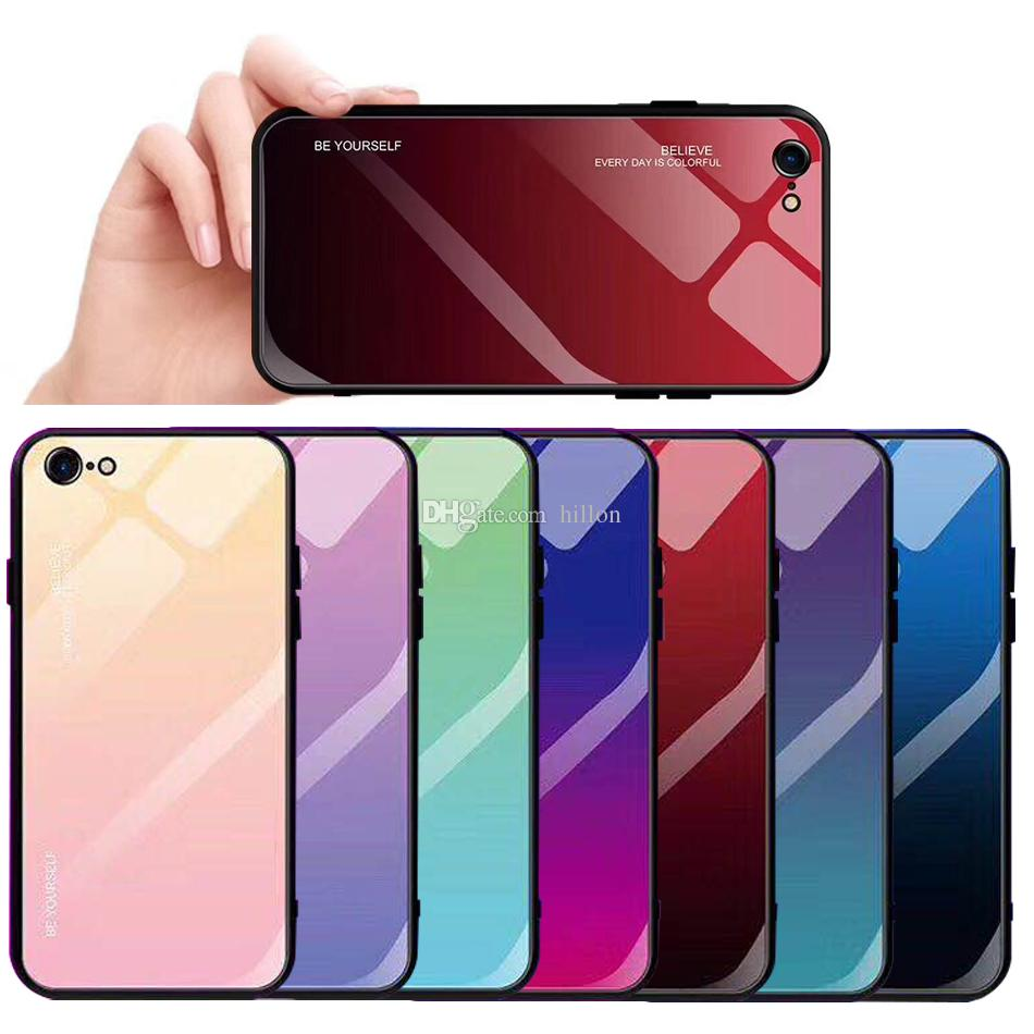 timeless design 024fc ab582 Gradient Glass Phone Case For IPhone X XR XS MAX Protective Back Cover Case  Stained Glass Case Anti Shock Shockproof Shell With OPP Bag Mobile Phone ...