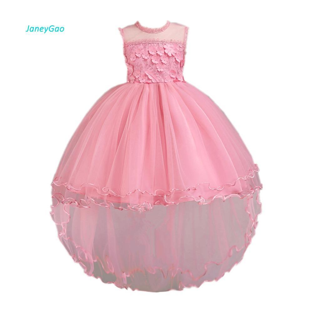 Venta al por mayor Vestidos de niña de flores para el banquete de boda Elegante Frente Corto Largo de espalda de tul Vestido formal para la niña 2018 nuevo estilo