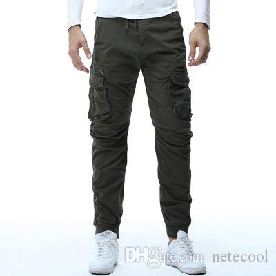 Pantalones de carga tácticos de camuflaje para hombre Pantalones de chándal para hombres Pantalones de algodón militares casuales Hip Hop Ribbon Pantalones de ejército masculino Multi-bolsillo caliente