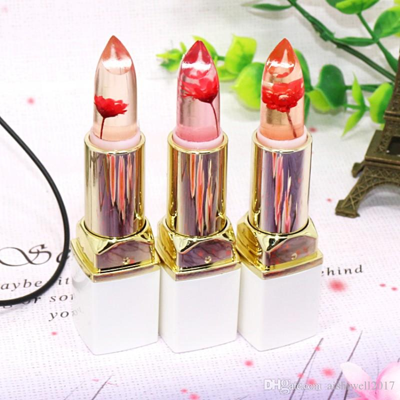 브랜드 투명한 꽃 젤리 립스틱 천연 레드 립 스틱 온도 색상 변경 오래 지속되는 보습 성분 한국 메이크업