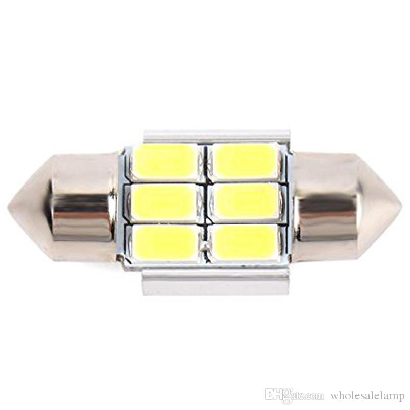 Festoon 31MM-41MM Canbus No Error White 5630 5730 6SMD LED Bulbs for License Plate Door Courtesy Interior Dome Reading Lights
