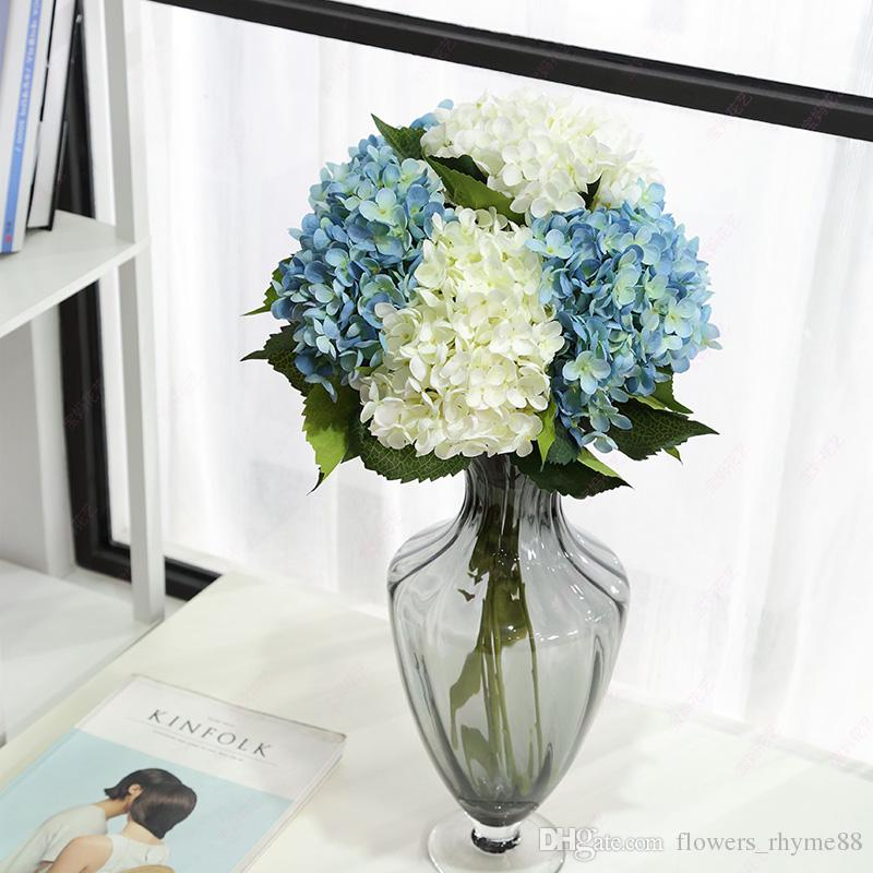 Flores artificiais de seda hortênsia falsa Festa de Flores de decoração Para Casa mesa de mesa Centrais de Decoração de Casamento falso Floral Único tronco Nupcial Bouquet