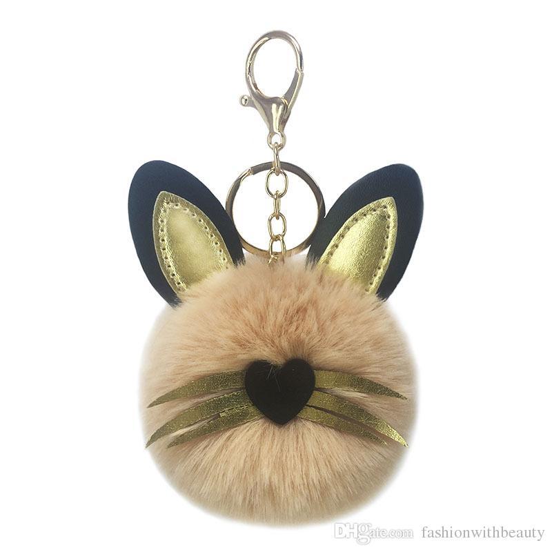 Cute Pompom Fluffy Cat Keychain Lovely Faux Rabbit Fur Ball Animal Key Ring for Women Bag Car Pendant Trendy Jewelry