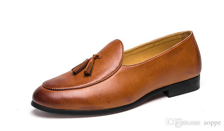 2019 autumn Fashion Men Shoes Casual shoes Designer Wedding Male Oxford Shoes tassels Men Flats 746