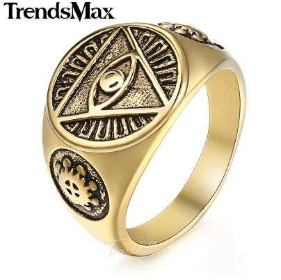 Erkekler Için Trendsmax Yüzük 316L Paslanmaz Çelik Altın Gümüş Renk İlluminati Piramit Göz Yüzük Hip Hop Takı Aksesuarları HR365