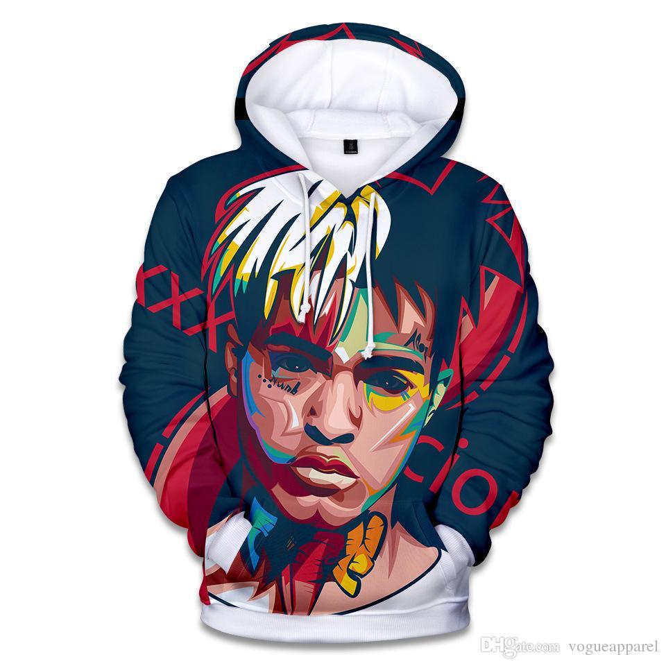 Mens Kleidung XXXTentacion Gedenk Sweatshirt Winter Warme Fleece Hoodies Fotos 3D Drucken Lose Pullover Kostenloser Versand