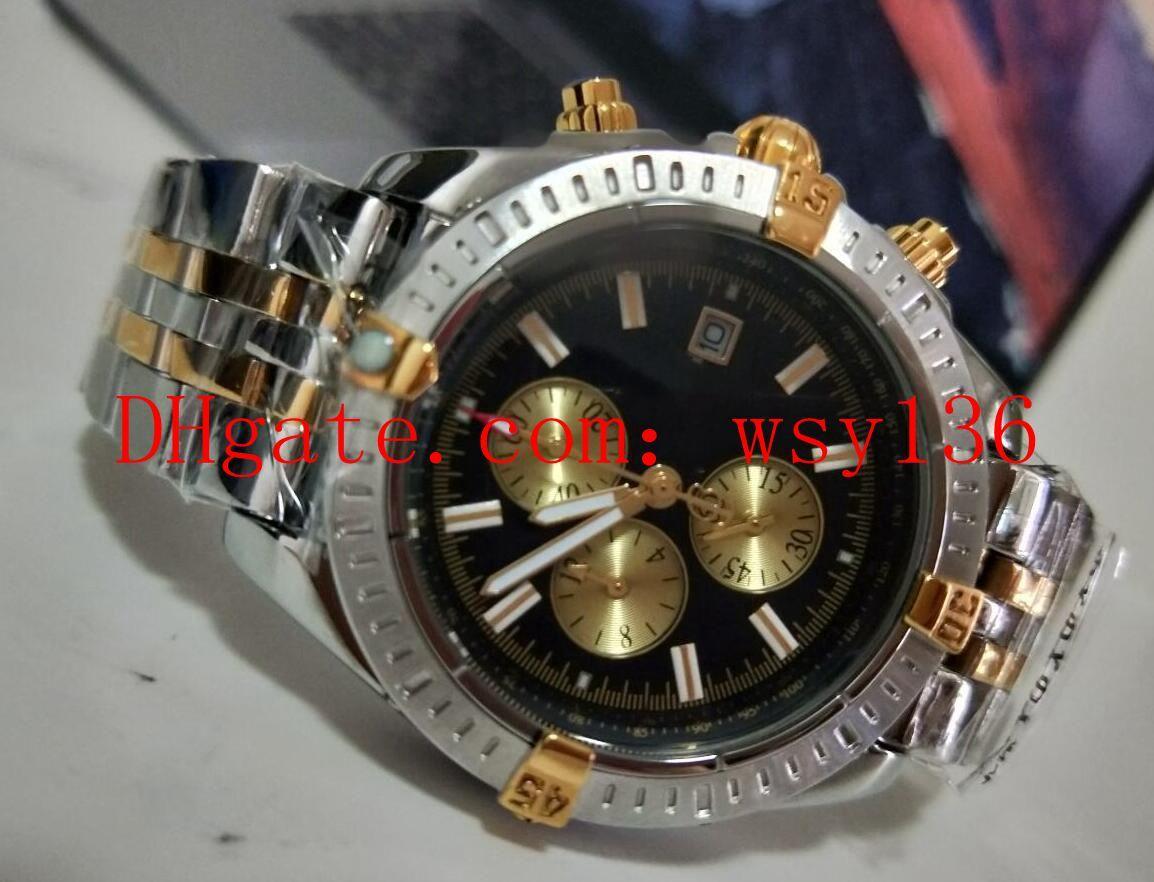 Лучшие продажи Evolution B13356 18K желтое золото хронограф кварцевые мужские спортивные наручные часы из нержавеющей стали черный циферблат дата мужские случайные часы