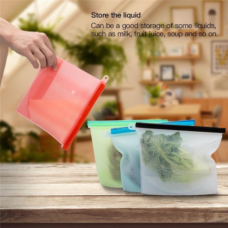 재사용 가능한 실리콘 음식 신선한 가방 밀폐형 가방 냉장고 식품 보관 용기 냉장고 자루 주방 애 가방 선물을 신선한 유지