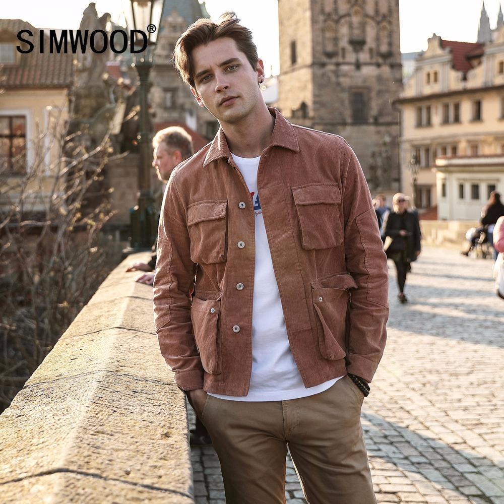 X SIMWOOD Neue 2018 Herbst Jacke Männer Casual Fit Cord Mäntel Mode Marke 100% Reiner Baumwolle Männlich Outwear Grundlegende Kleidung 180274