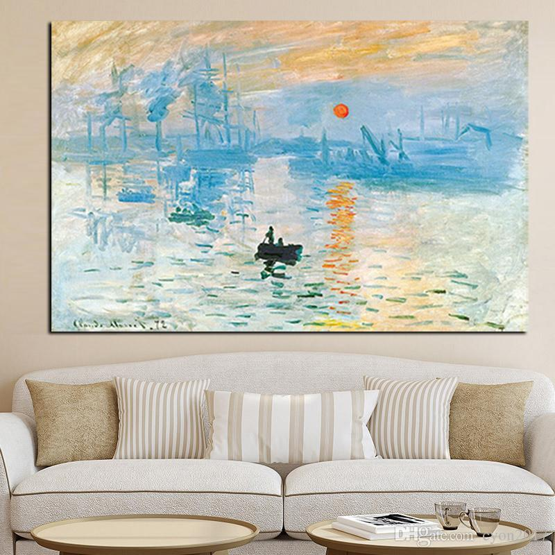 Claude Monet Impression Sunrise Famous Landscape Oil Painting on Canvas Art Poster Print Wall Picture for Living Room Cuadros