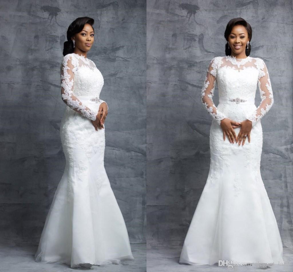 Sereia Longo Sheer Manga Vestidos de Casamento Tripulação Até O Chão Organza Apliques de Renda Sexy nigeriano Nupcial Vestidos de Casamento Com Cinto de Contas