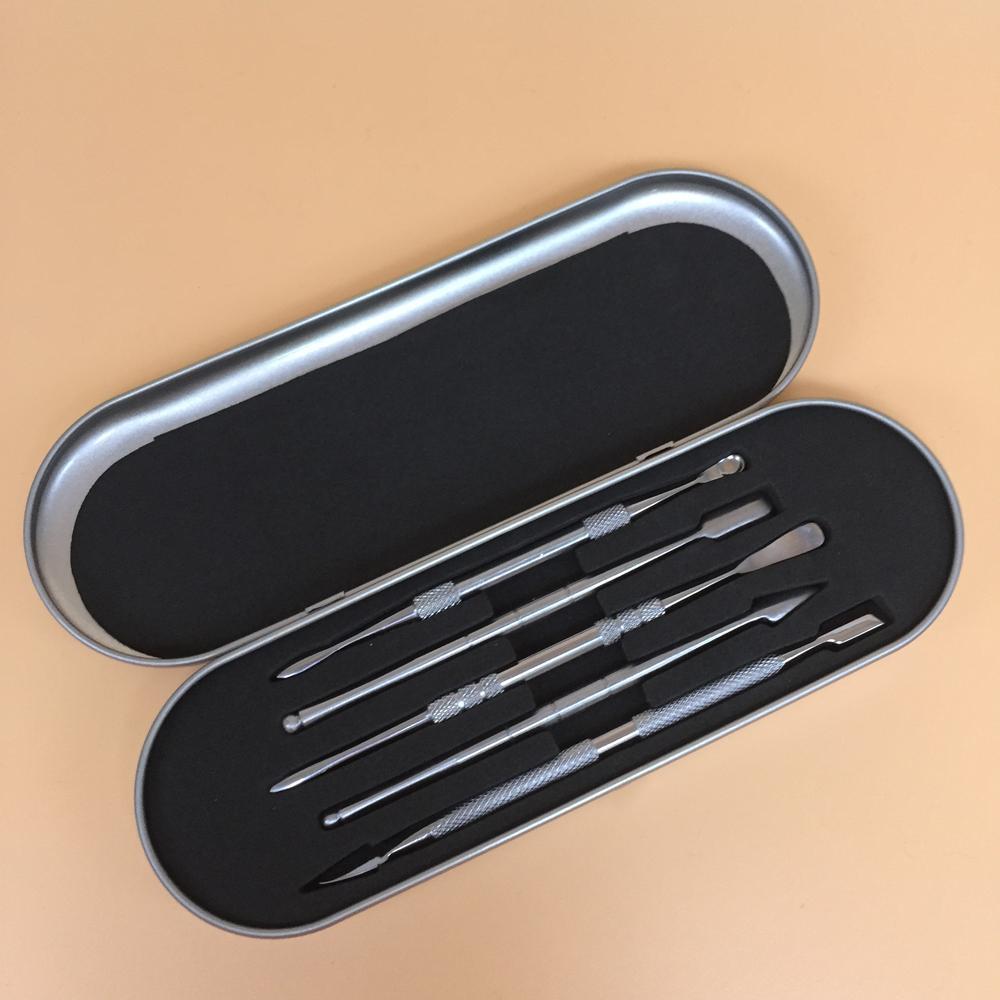 2020 ferramentas dabber metal ferramenta cera DAB SS com pá de espátula para tubo de vidro de quartzo banger vaporizador caneta bongo 5 estilos kit
