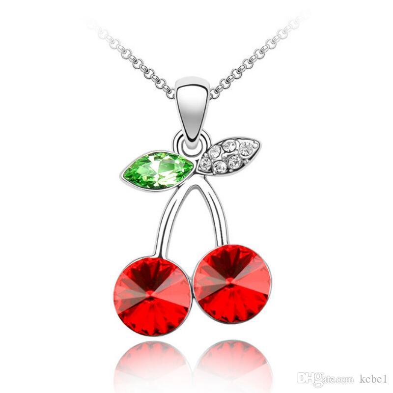 Collar de cereza con sabor a fruta roja hecho con cristales austriacos para las mujeres 2018 regalo del día de San Valentín envío gratis