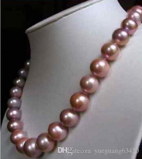 Elegante 10-11mm natürliche Südsee Rosa Lila Perlenkette 18inch Gold 14k Schließe
