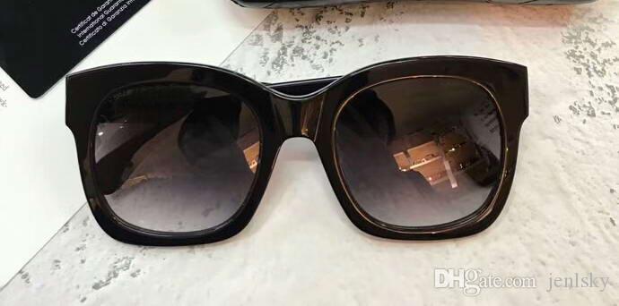 ch5357 Квадратные солнцезащитные очки с черной оправой / с серой дымчатой линзой