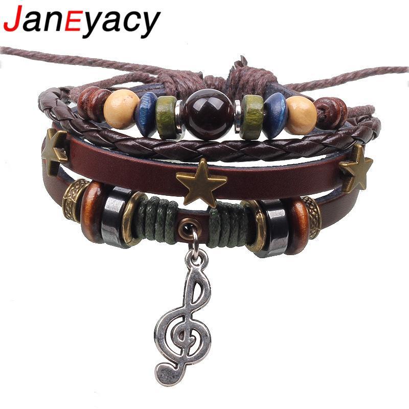Janeyacy 2018 Popular Music Symbol Leather Bracelet Men Pulseira Masculina Simple Eye Style Multi-layer Bracelet Women Pulseras