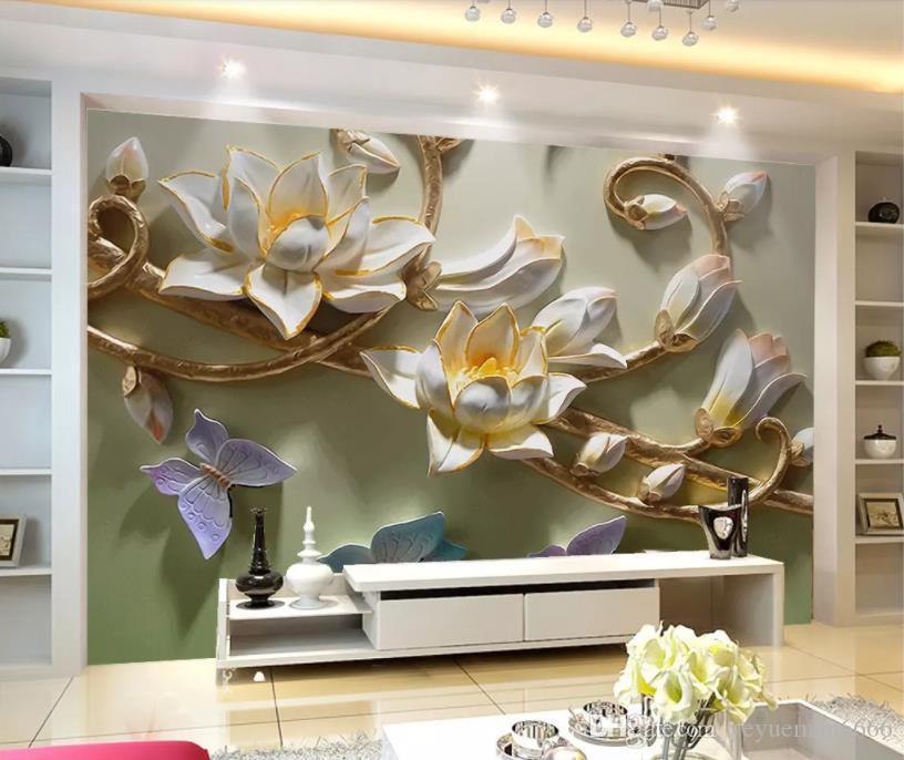 Пользовательские 3d фото обои для стен 3 d настенные росписи цветочные бабочки рельеф настенные росписи домашнего декора фрески обои