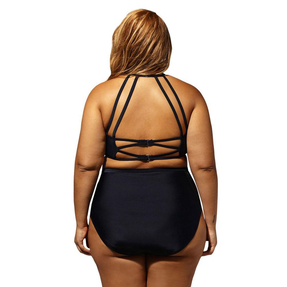 Plus Size 4XL Swimwear Patterned Mesh Insert Sexy Bikini Costume da bagno Donna 2018 New 2pcs High Life Biquini Beachwear Costume da bagno