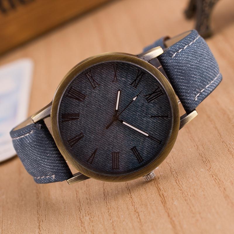 Nueva Moda Reloj de Escala de Cuarzo Retro Vaqueros Vaqueros Multicolores Imitado Correa de Cuero Reloj Para Mujeres Hombres Hombres Examen de Tiempo LJS158