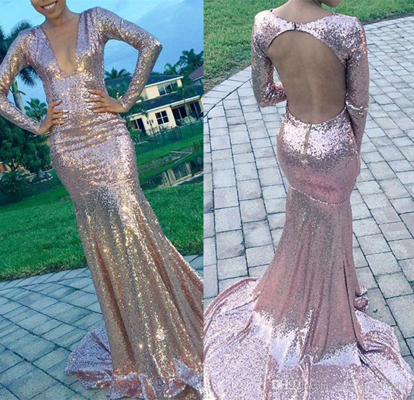 Rose d'or à manches longues sirène robes de bal 2018 nouveau Deep V Neck Sweep Strain paillettes robe de soirée formelle robes de soirée sur mesure plus la taille