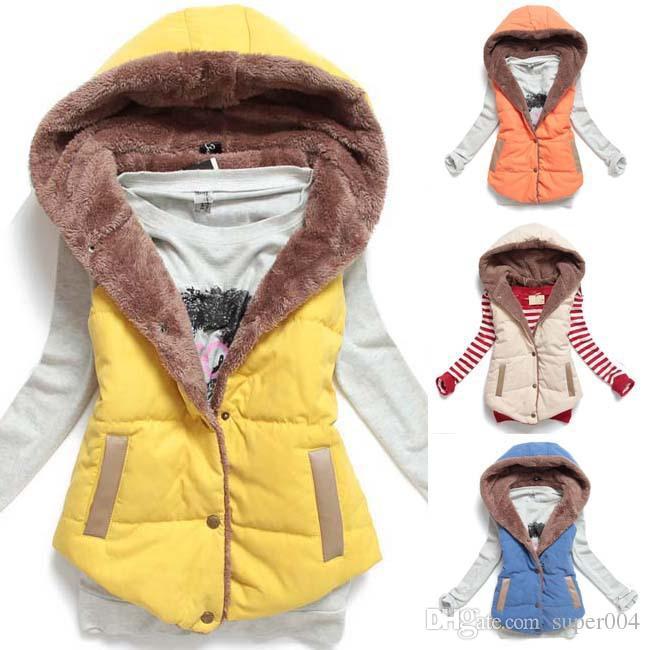 Yeni Sıcak Kadın Yelekler Artı Boyutu Kolsuz Yelek Femininas Pamuk Yelekler Hoody ceket Kadın Yelek