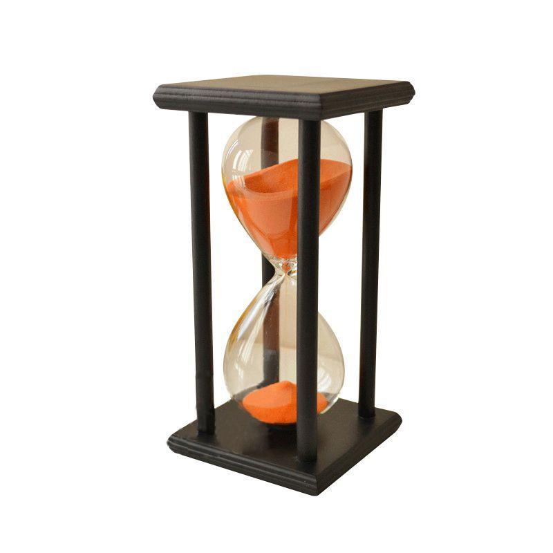 NOCM-Couleurs! 60Min Sable en bois Sablier Sablier Minuterie Horloge Décor Unique Type de cadeau: 60Min Noir Cadre Orange Sable