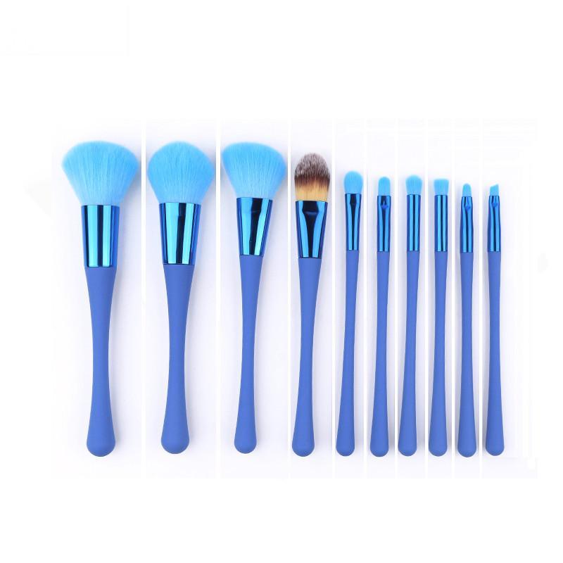 10 Unids Cepillos de maquillaje Profesional Conjunto de color azul rojo Sombra de Ojos Cepillo de Labios de cera Fundación Powder Corrector de cepillo Herramientas de Belleza