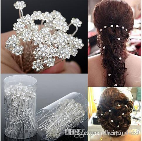 Accesorios de boda Pearl Horquillas de la perla Flor Cristal Pearl Rhinestone Pasadores Pines Clips Dama de honor Mujeres Joyería de pelo Robes de Soirée
