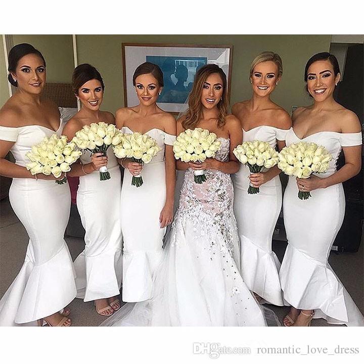 Alto Bajo sirena blancos vestidos de dama de Venta caliente 2019 plisados del Usuario No del hombro tafetán criada del Partido Prom Vestidos Vestidos B08