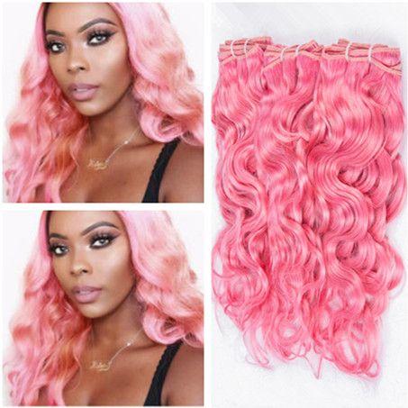 순수 핑크 버진 페루 습식 및 물결 모양의 인간의 머리카락 직물 색깔의 핑크 인간의 머리카락 번들 물결 페루 머리카브 3pcs 많이 짜다
