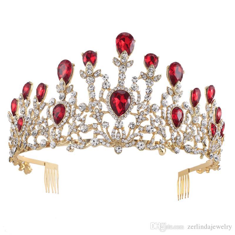 Classic Vintage Gold Plated Ruby Royal blue Rhinestone Princess Women Weddig Party Hair Tiaras Crown