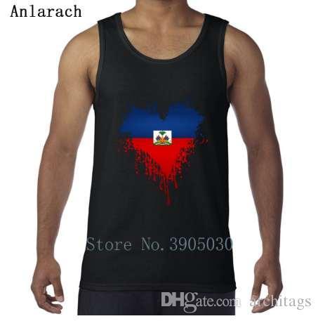 Drapeau haïtien Dripping Heart Vest Branded personnalisé taille Euro XS-2xl naturel hommes débardeur 2018 vêtements mieux Anlarach Fit