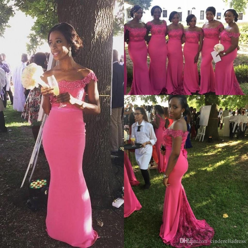 2020 Fuchsia Plus Size Bridesmaid Dresses Off Shoulder Appliques Lace Mermaid Maid Of Honor Wedding Guest Dress Wear Formal Party Dresses