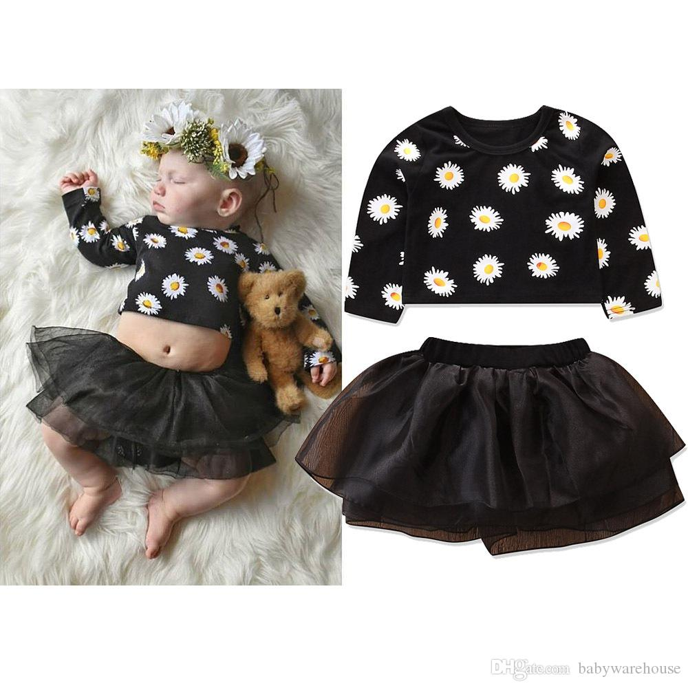 Baby Girl Clothes Infant Toddler Girls Clothing Set Long Sleeve Daisy Print Crop Tops + Tutu Skirt 2PCS Baby Outfits Children Kids Clothing