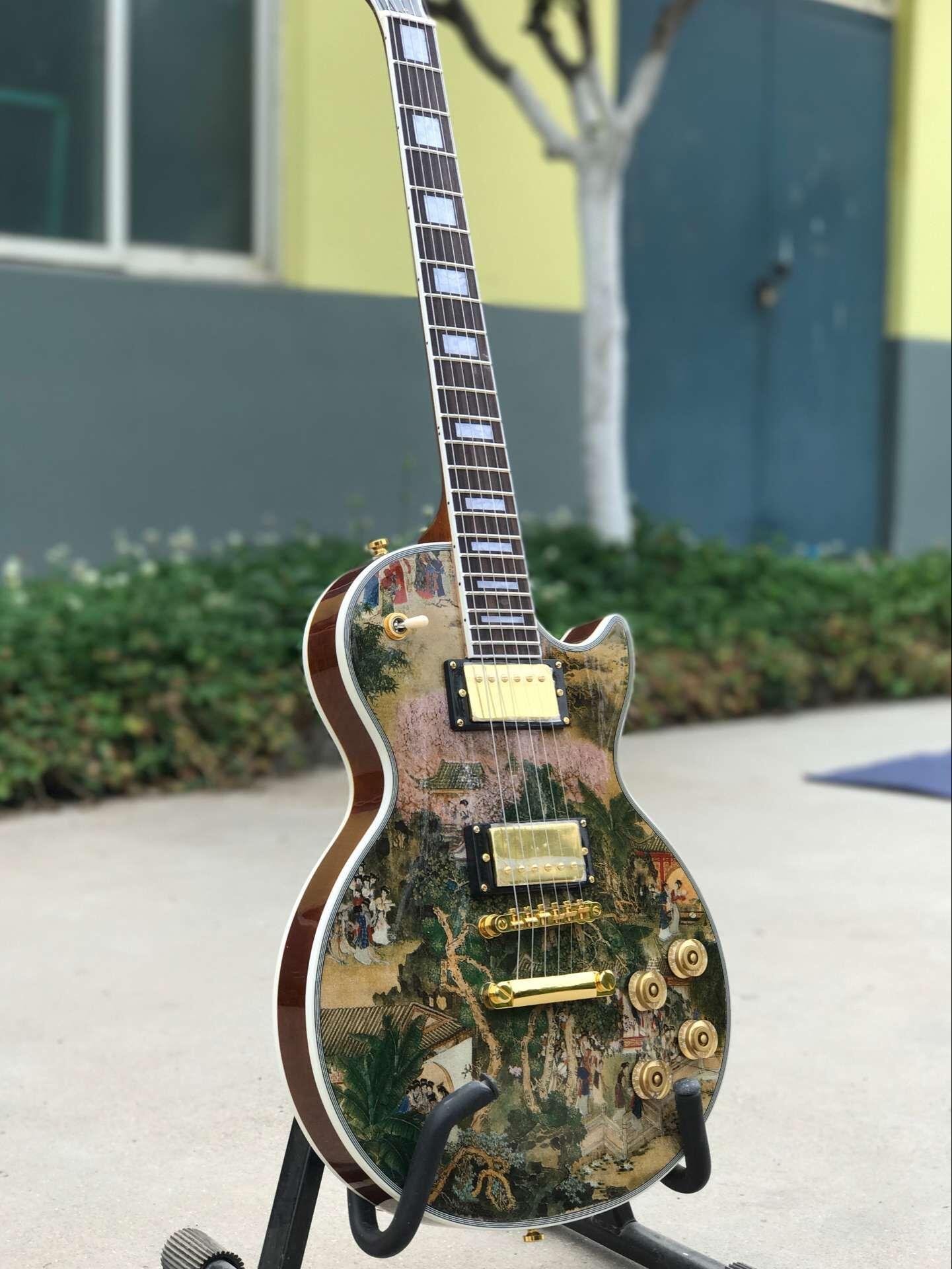 Custom Shop Water Transfer Guitar Panel Mahogany Rosewood Mahogany na tylnej stronie