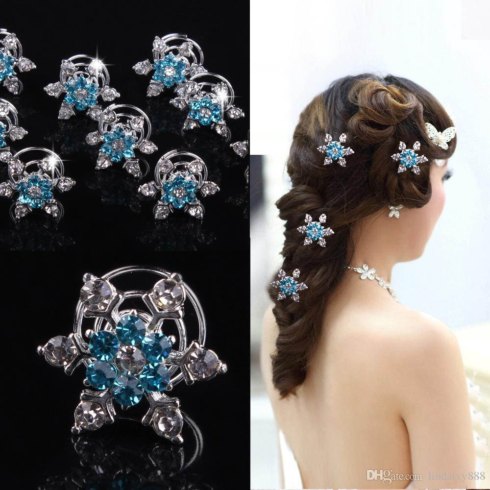 12pcs/lot Bride Rhinestone Snowflake Spiral Hair Clips Beautiful Blue flower Hairpins Headspiece for girls wedding Hair Accessories Jewelry