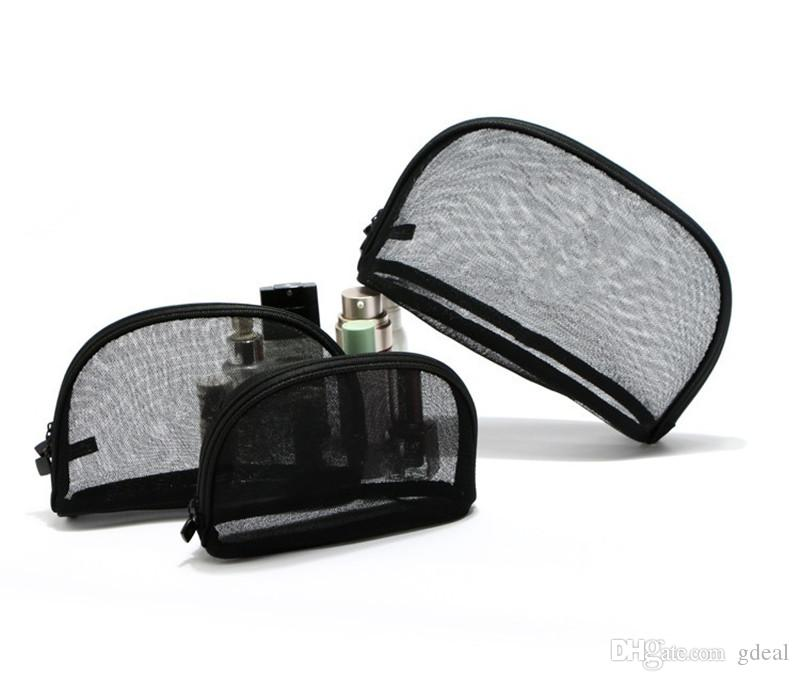 Fashion black mesh cosmetic bag Transparent lace storage bag clutch wash bag can be customized free shipping 3 Pack/set 100