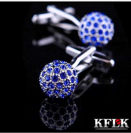 KFLK Bijoux Marque Blue Crystal Ball Manchette Lien En Gros Boutons designer de Haute Qualité chemise boutons de manchette pour hommes Livraison Gratuite