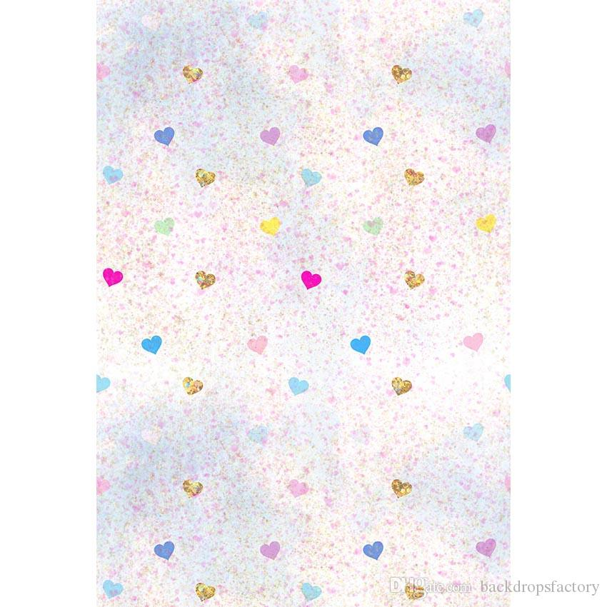 Digital impresso amor corações pano de fundo para fotografia bebê recém-nascido adereços crianças crianças colorido aquarela Backgrounds