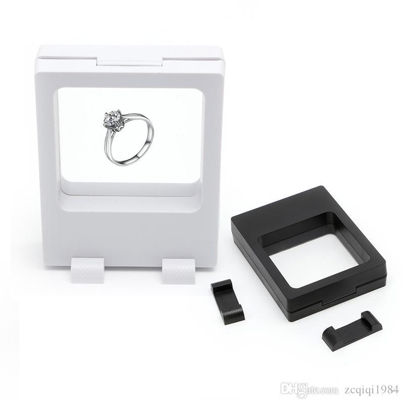 أسود أبيض عرض العائمة حالات صندوق مجوهرات عملات الأحجار الكريمة التحف حامل حامل حار بيع الأزياء