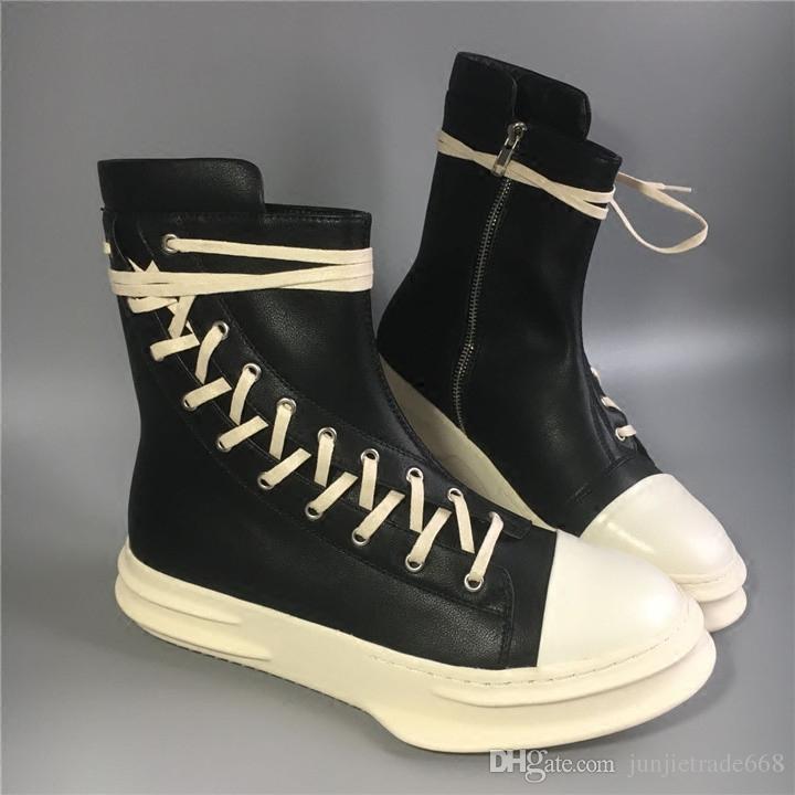 Популярные высокое-верхней части laceing сапоги натуральная кожа подошва панк-стрит прилив большой размер мужская обувь