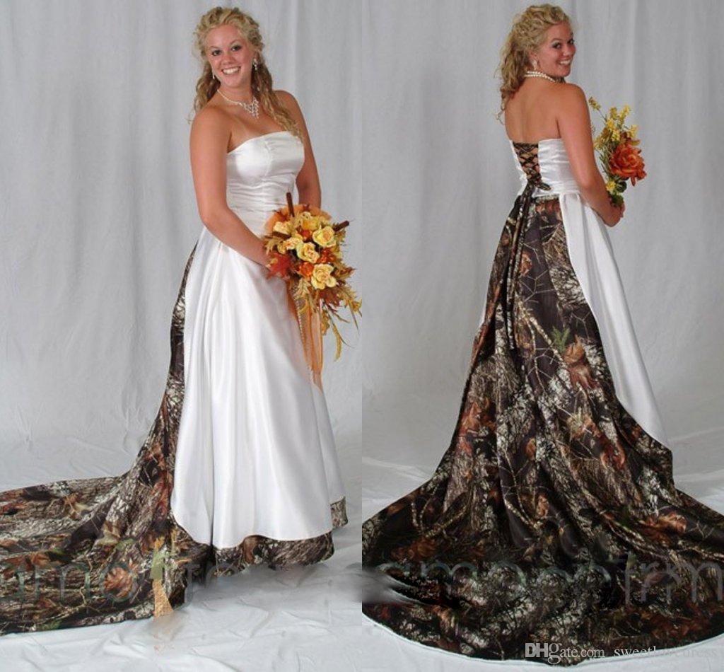 Элегантный без бретелек камуфляж свадебные платья Атлас зашнуровать обратно спинки страна часовня поезд дешевые свадебные платья плюс размер