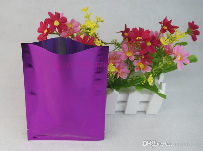 Sacchetto di plastica foglio di alluminio rosso porpora, 9x13cm-200pcs / lotto pacchetto di amido di mais imballaggio poli sacco piatto, calore superiore aperto bustina di cibo di stoccaggio sigillabile