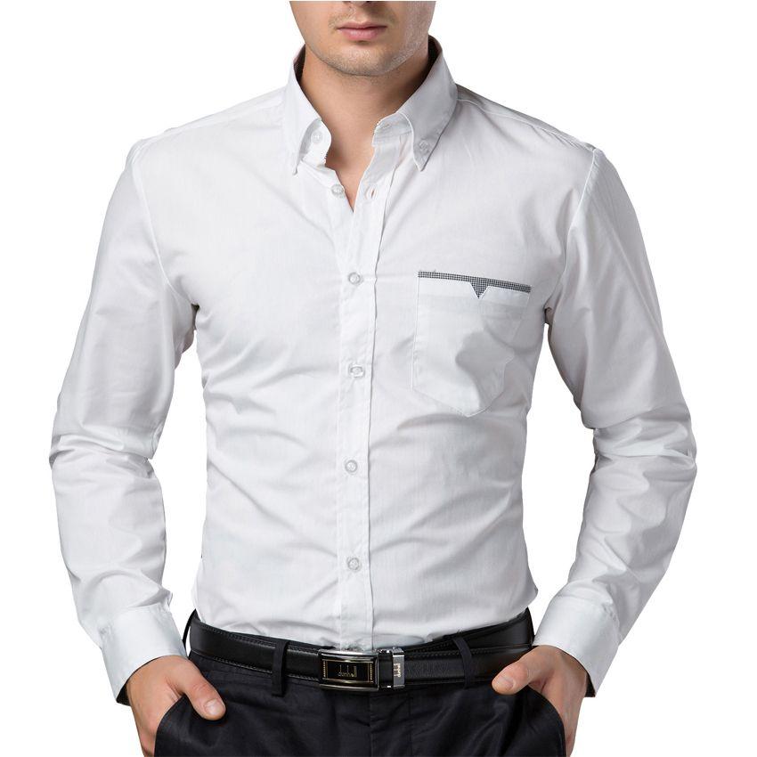 Compre Chemise Homme Camisa De Vestir De Moda Para Hombre Ropa De Manga Larga En Negro Burdeos Camisa De Hombre Blanca Camisa Casual De Algodón Para