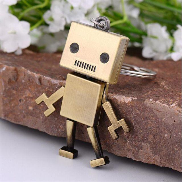남자 어린이 액세서리 귀여운 합금 로봇 키 체인 크리 에이 티브 쥬얼리 키 링 자동차 키 체인 성인 Chaveiro 생일 선물