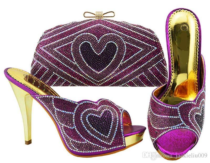 A maioria das mulheres roxas moda bombas com coração padrão de strass saco para vestido africano sapatos jogo bolsa combinada JZC005
